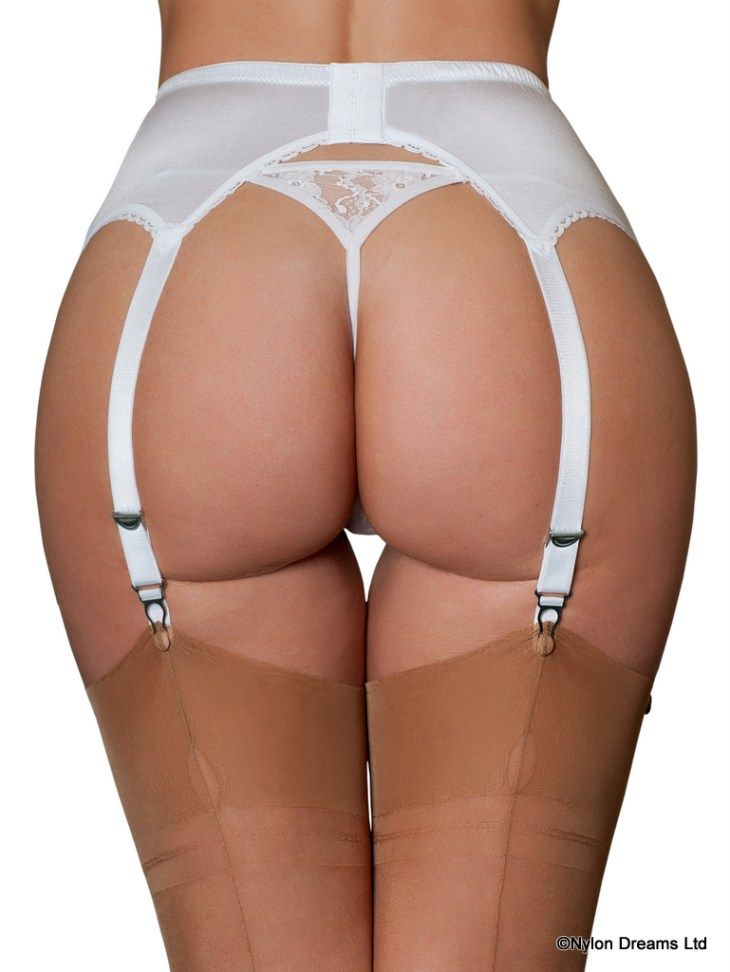 b12fd9fb72e 1950s style 6 Strap Suspender Belt With Contrast Lace Front Panel.
